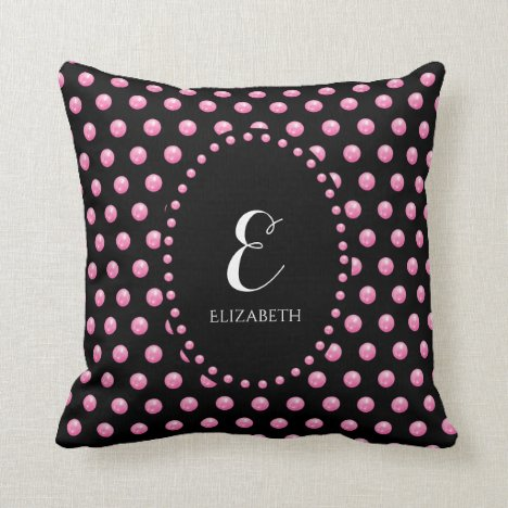 Personalized Girly Pink Elegant Chic Throw Pillow