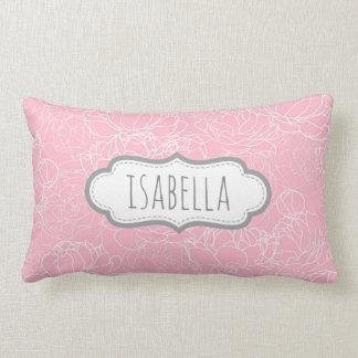 Personalized Girly Pink Floral Monogram Pattern Lumbar Pillow
