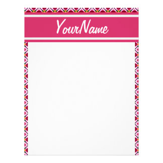 Personalized Girly Pink Red Floral Diamonds Patter Letterhead Template