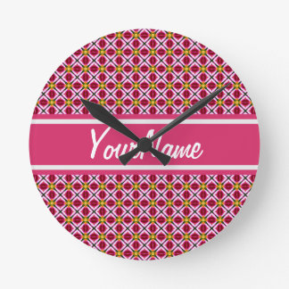 Personalized Girly Pink Red Floral Diamonds Patter Round Clock