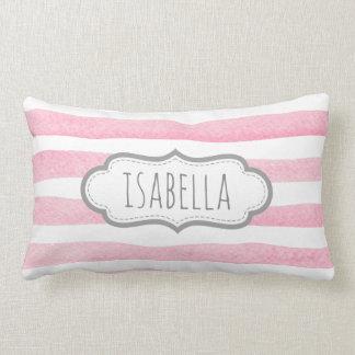 Personalized Girly Pink Stripes Monogram Lumbar Pillow
