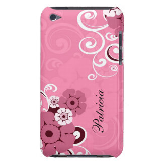 Personalized Girly Pink Swirls And Floral Pattern iPod Touch Cover