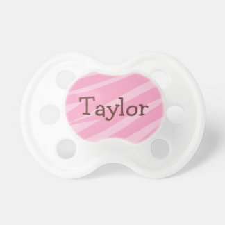 Personalized Girly Pink Zebra Stripes Pacifier