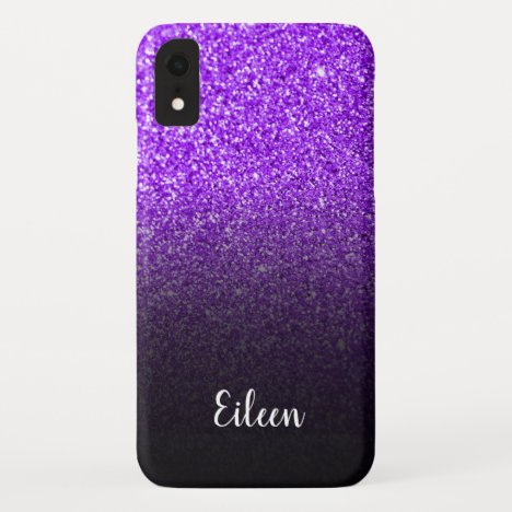 Personalized Girly Purple Glitter Black Ombre iPhone XR Case