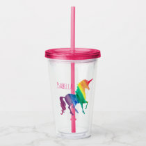 Personalized Girly Rainbow Unicorn Watercolor Acrylic Tumbler