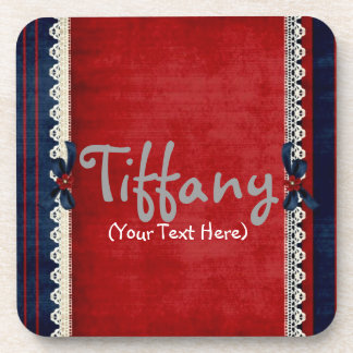 Personalized Girly Red in Lace Drink Coaster