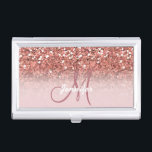 "Personalized Girly Rose Gold Glitter Sparkles Name Business Card Case<br><div class=""desc"">Personalized Girly Rose Gold Glitter Sparkles Name Monogram Design Template. Further customize your font colors if you wish.</div>"
