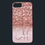 "Personalized Girly Rose Gold Glitter Sparkles Name iPhone 8/7 Case<br><div class=""desc"">GIRLY,  PERSONALIZED,  FAUX ROSE GOLD GLITTER EFFECT,  PRINTED on FLAT SURFACE,  FOR HER. with your name or monogram,  initial or text. Elke Clarke &#169;</div>"