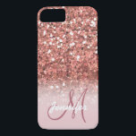 """Personalized Girly Rose Gold Glitter Sparkles Name iPhone 8/7 Case<br><div class=""""desc"""">GIRLY,  PERSONALIZED,  FAUX ROSE GOLD GLITTER EFFECT,  PRINTED on FLAT SURFACE,  FOR HER. with your name or monogram,  initial or text. Elke Clarke ©</div>"""
