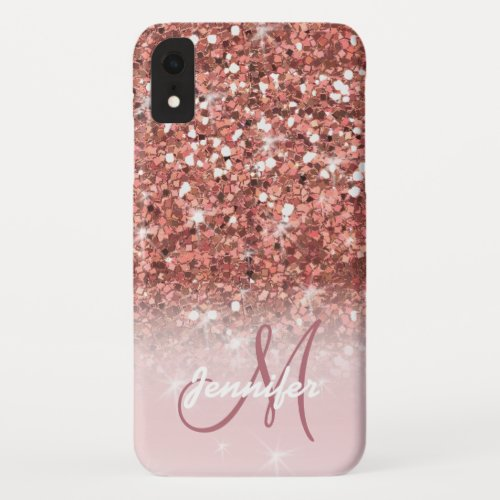 Personalized Girly Rose Gold Glitter Sparkles Name iPhone XR Case