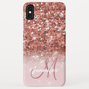 Personalized Girly Rose Gold Glitter Sparkles Name Iphone Xs Max Case