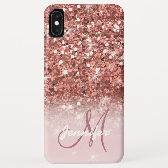 c9900588cc3d6 Personalized Girly Rose Gold Glitter Sparkles Name Case-Mate iPhone Case