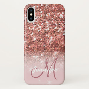 new arrivals 9b51d 137b2 Personalized Girly Rose Gold Glitter Sparkles Name iPhone X Case