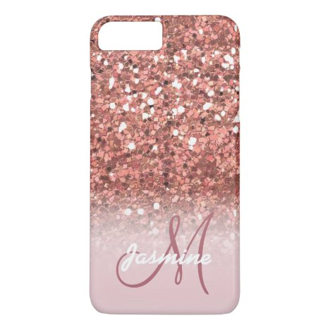 Personalized Girly Rose Gold Glitter Sparkles Name iPhone 8 Plus/7 Plus Case