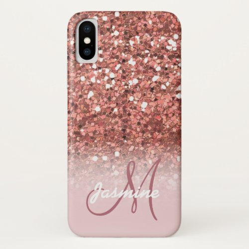 Personalized Girly Rose Gold Glitter Sparkles Name iPhone X Case