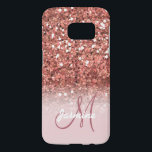 """Personalized Girly Rose Gold Glitter Sparkles Name Samsung Galaxy S7 Case<br><div class=""""desc"""">GIRLY,  PERSONALIZED,  FAUX ROSE GOLD GLITTER EFFECT,  PRINTED on FLAT SURFACE,  FOR HER. with your name or monogram,  initial or text. Elke Clarke ©</div>"""
