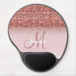 Personalized Y Rose Gold Glitter Sparkles Name Gel Mouse Pad