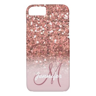 Personalized Girly Rose Gold Glitter Sparkles Name iPhone 8/7 Case