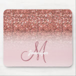 "Personalized Girly Rose Gold Glitter Sparkles Name Mouse Pad<br><div class=""desc"">Personalized Girly Rose Gold Glitter Sparkles Monogram Name Design. Use the customize menu to edit and change the font colors.</div>"