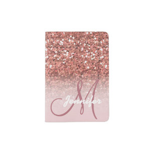 9409de6baba1 Personalized Girly Rose Gold Glitter Sparkles Name Passport Holder