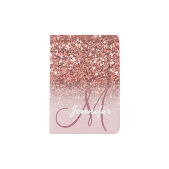 Personalized Girly Rose Gold Glitter Sparkles Name Passport Holder