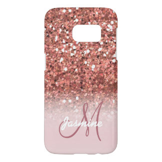 Personalized Girly Rose Gold Glitter Sparkles Name Samsung Galaxy S7 Case