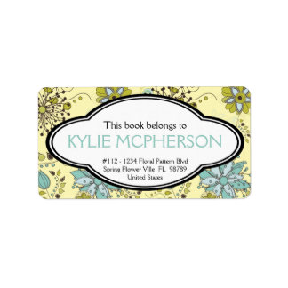 Personalized Girly Spring Green Floral Bookplate Label