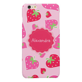 Personalized Girly strawberry hearts for lovers Glossy iPhone 6 Plus Case