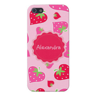 Personalized Girly strawberry hearts for lovers iPhone SE/5/5s Cover