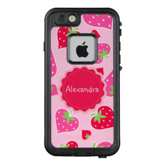 Personalized Girly strawberry hearts for lovers LifeProof FRĒ iPhone 6/6s Case