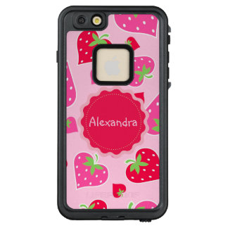 Personalized Girly strawberry hearts for lovers LifeProof FRĒ iPhone 6/6s Plus Case