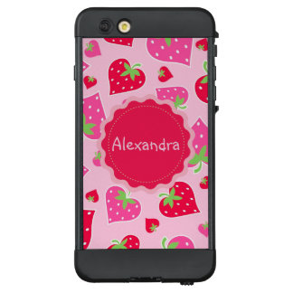 Personalized Girly strawberry hearts for lovers LifeProof NÜÜD iPhone 6 Plus Case