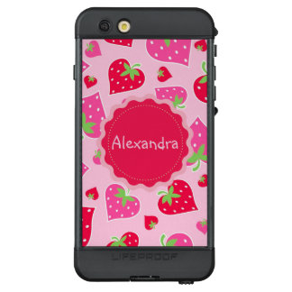 Personalized Girly strawberry hearts for lovers LifeProof NÜÜD iPhone 6s Plus Case