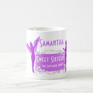 Personalized girly sweet sixteen coffee mug