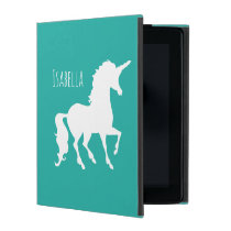 Personalized Girly Turquoise Green Unicorn Pretty iPad Cover