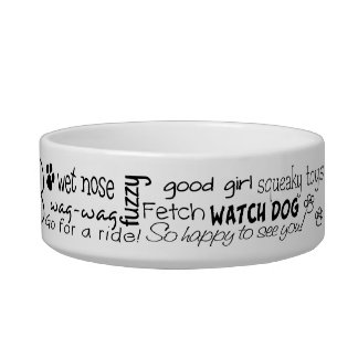 Personalized Girly Word Art Dog Bowl