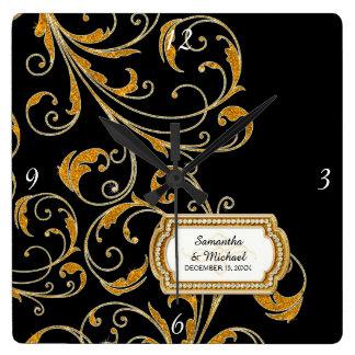 Personalized Glam Old Hollywood Regency Black Tie Wallclocks