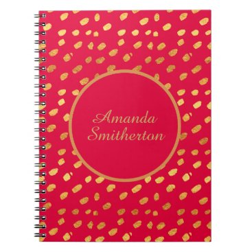 Professional Business Personalized Glamorous Red Gold Monogram Spiral Notebook