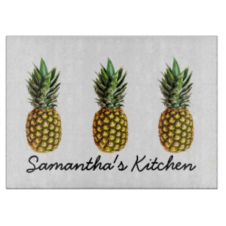 Personalized glass cutting board with pineapples