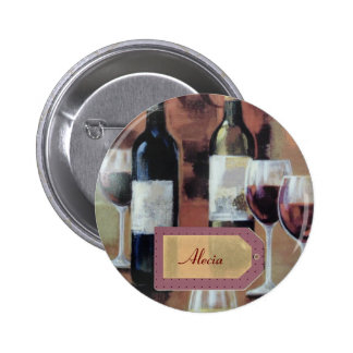 Personalized Glasses and Wine Bottle Name Tags Button