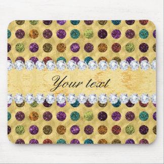Personalized Glitter Polka Dots Diamonds Mouse Pad
