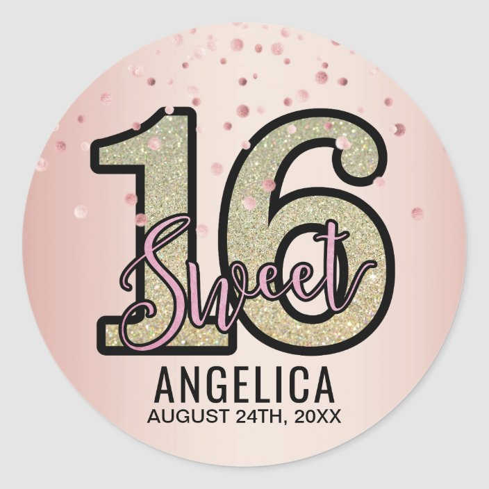 Custom Sweet 16 Party Favor Labels Personalized Black and Rose Gold Sweet 16 Party Round Stickers