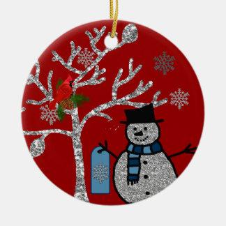 Personalized GLITTER SNOWMAN Ornament