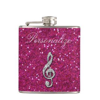 Personalized Glitzy Sparkly Diamond Music Note Hip Flask