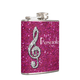Personalized Glitzy Sparkly Diamond Music Note Hip Flask