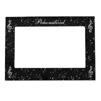 Personalized Glitzy Sparkly Diamond Music Note Magnetic Photo Frame