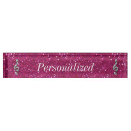 Personalized Glitzy Sparkly Diamond Music Note Name Plate