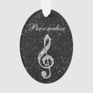 Personalized Glitzy Sparkly Diamond Music Note Ornament