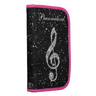 Personalized Glitzy Sparkly Diamond Music Note Folio Planners