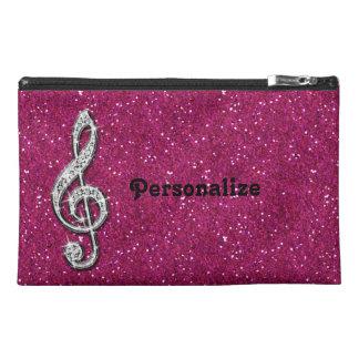 Personalized Glitzy Sparkly Diamond Music Note Travel Accessories Bags